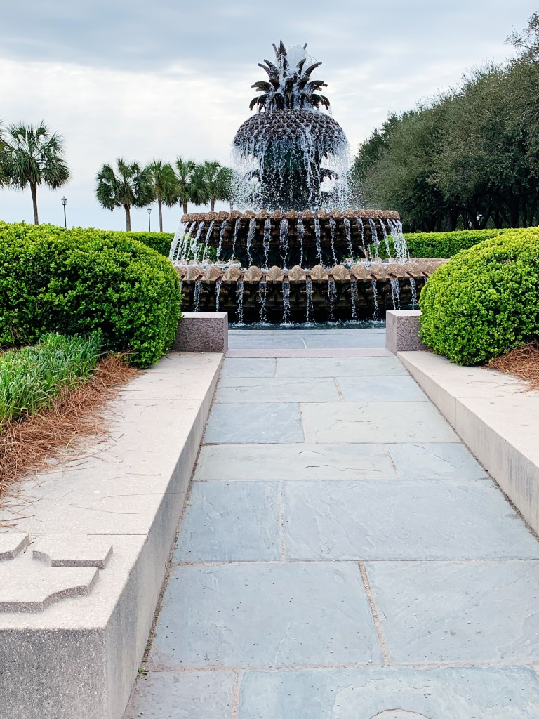 a photo of the pineapple fountain in charleston