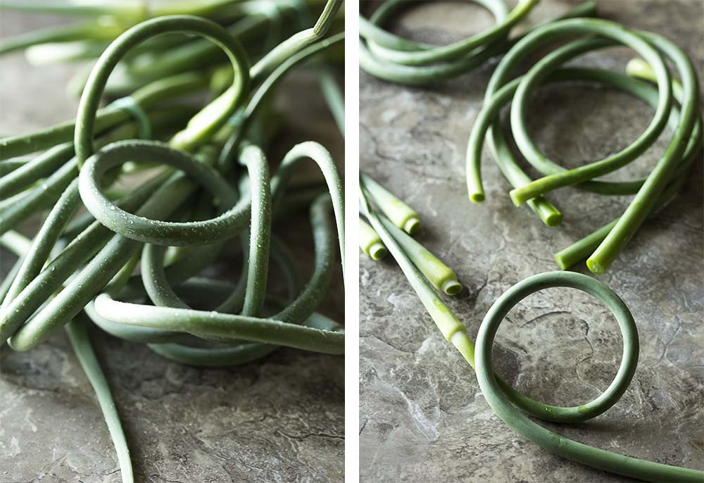 Garlic scapes and how to trim them.