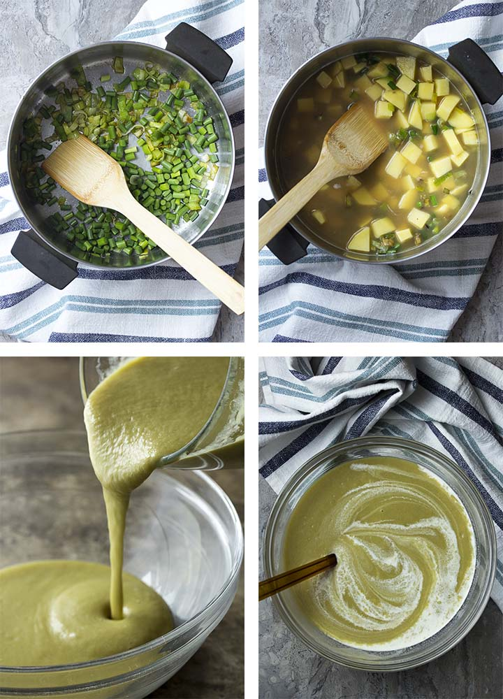 Step by step photos of how to make garlic scape vichyssoise.