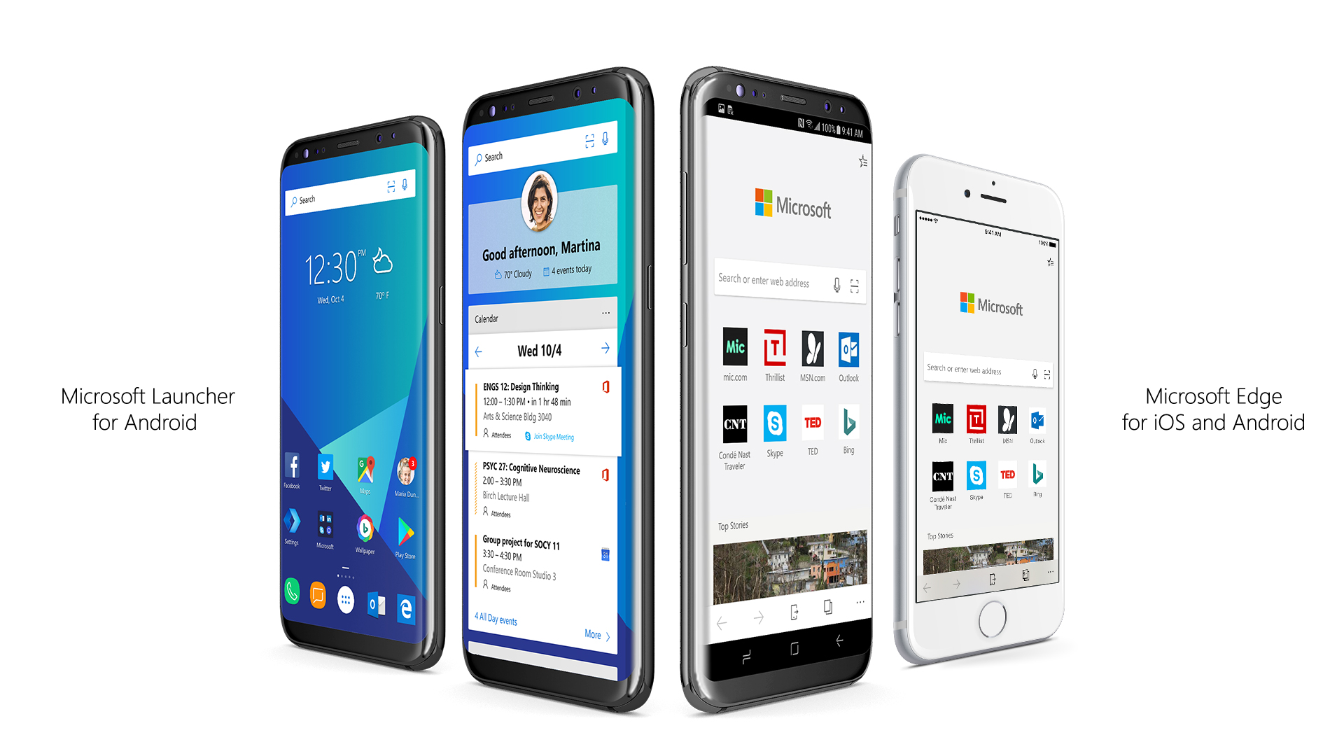Microsoft Edge and Microsoft Launcher