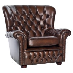 Buttoned Leather Chair Mid Century Hoop Marquette Brown Sofa - Uk Delivery