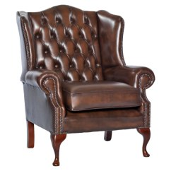 Upholstered Chairs With Wooden Arms Will Folding Chair Covers Fit Banquet Amerigo Antique Brown Leather Fireside - Uk Delivery