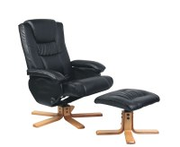 Carson Black Faux Leather Swivel Chair and Footstool