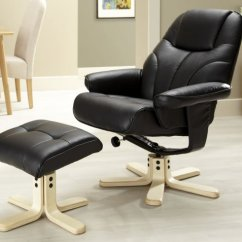 Cream Office Chair Faux Leather Silver Lounge Rosenberg Black Recliner And Stool - Just Armchairs