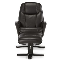 Modern Black Leather Recliner Chair Slipcover For Rocking Glider Jersey Brown Faux And Foot Stool - Just Armchairs