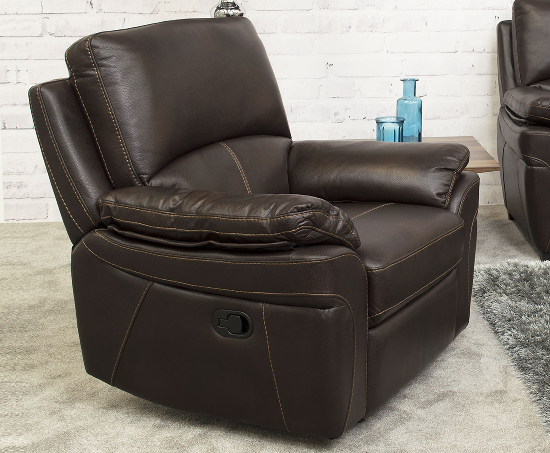 brown leather recliner sofa uk stretch pique full sleeper slipcover belvedere look arm chair