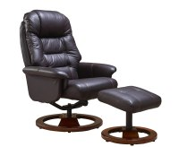 Jeremiah Red Wine Bonded Leather Swivel Chair and Foot Stool