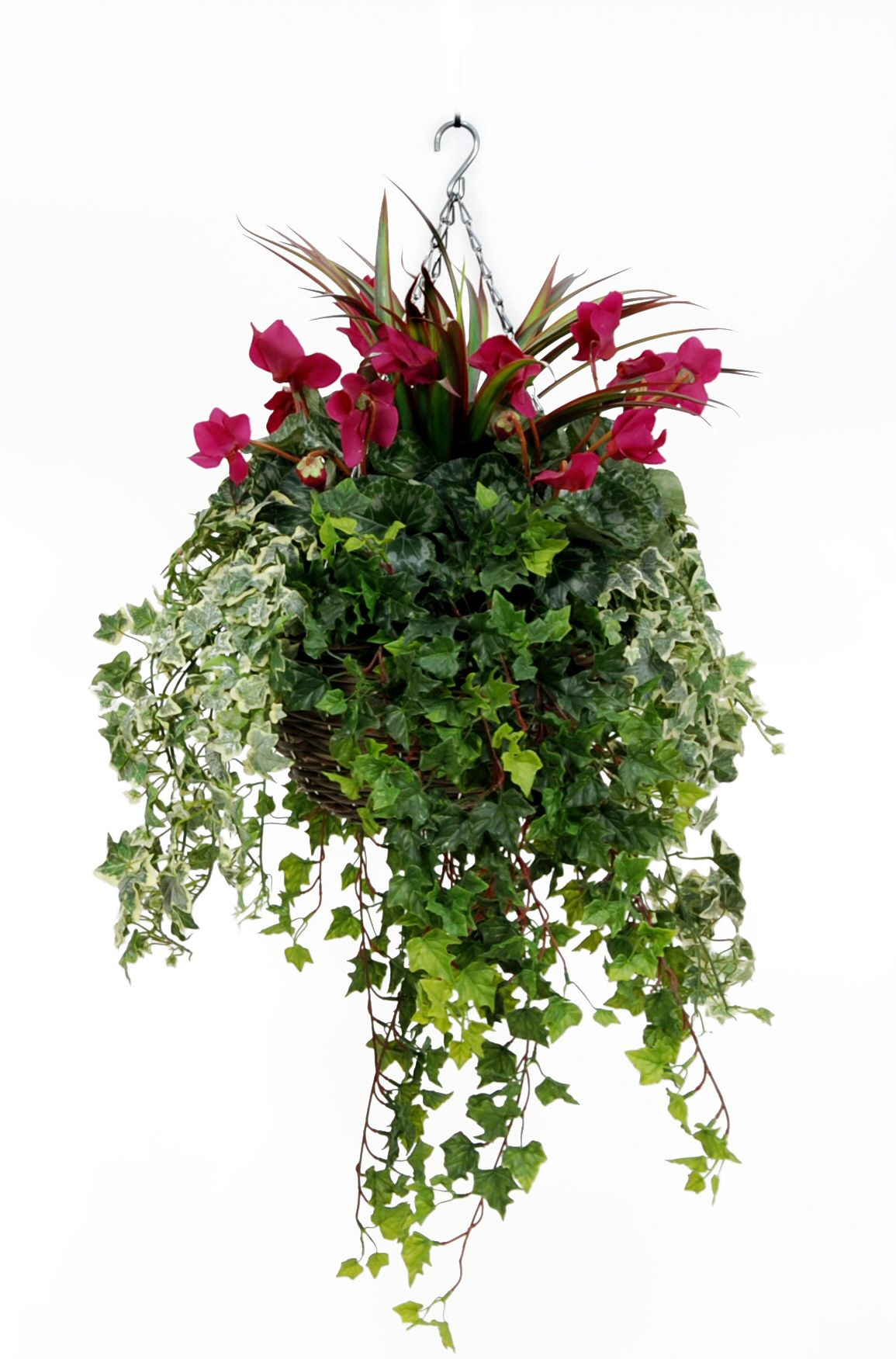 Artificial Plastic Cyclamen Large Hanging Basket Just