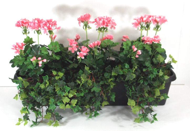 Artificial Geranium Potted Trough Just Artificial