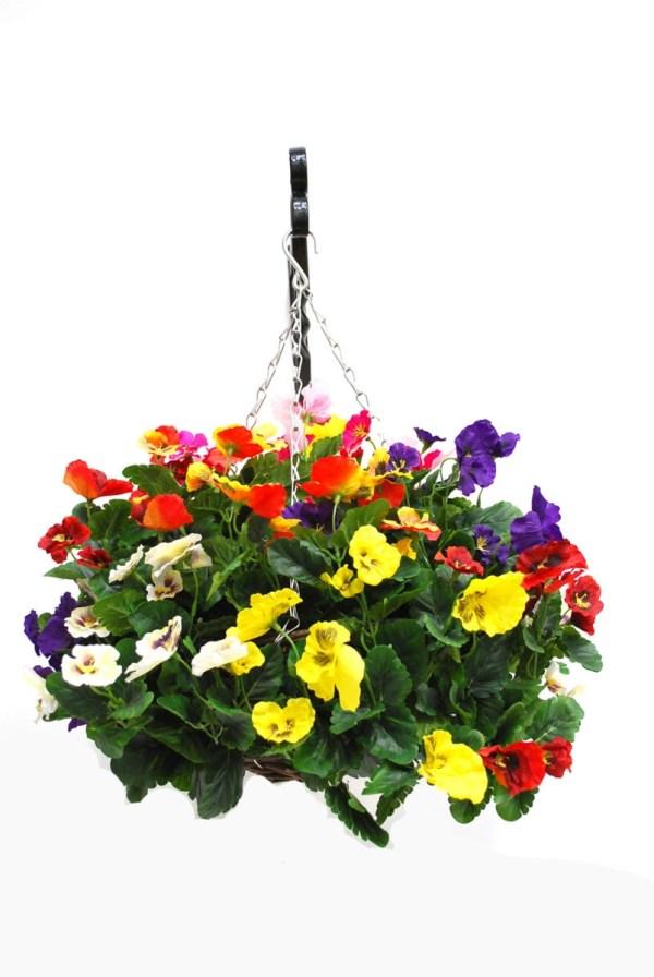 Artificial Silk Pansy Ball Hanging Basket