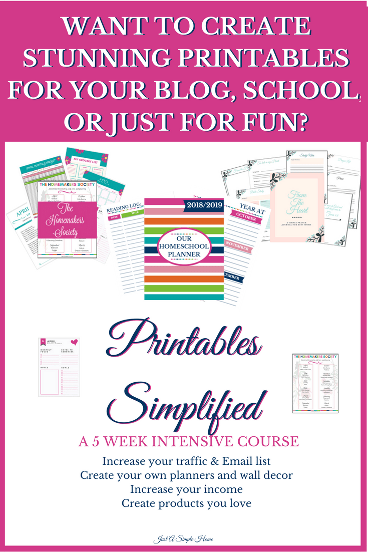 PRINTABLES SIMPLIFIED COURSE - Just A Simple Home