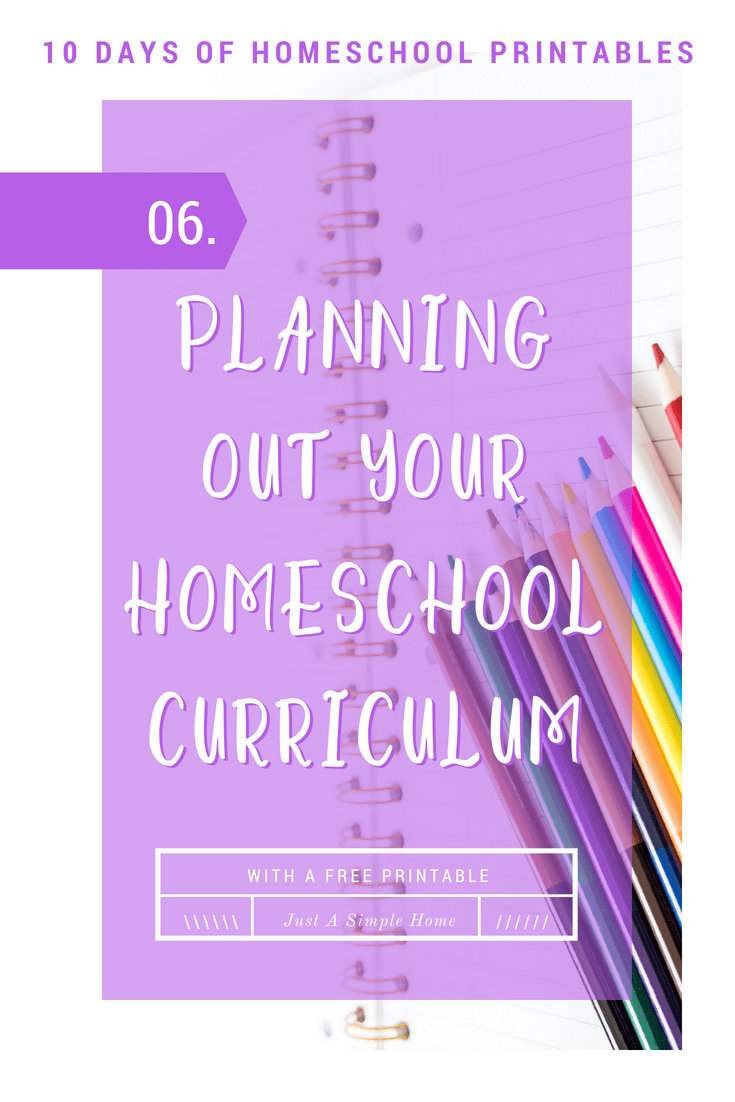 Planning Out Your Homeschool Year - with a free printable! Plan what curriculum you want to use in your homeschool, how much it costs, where you purchase it from. Part of the 10 Days of Free Homeschool Printables. #homeschool #freeprintables #homeschoolplanner #planner #homeschoolprintables