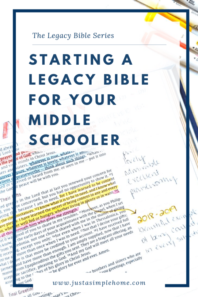 How to start a Legacy Bible for Your Middle School Student
