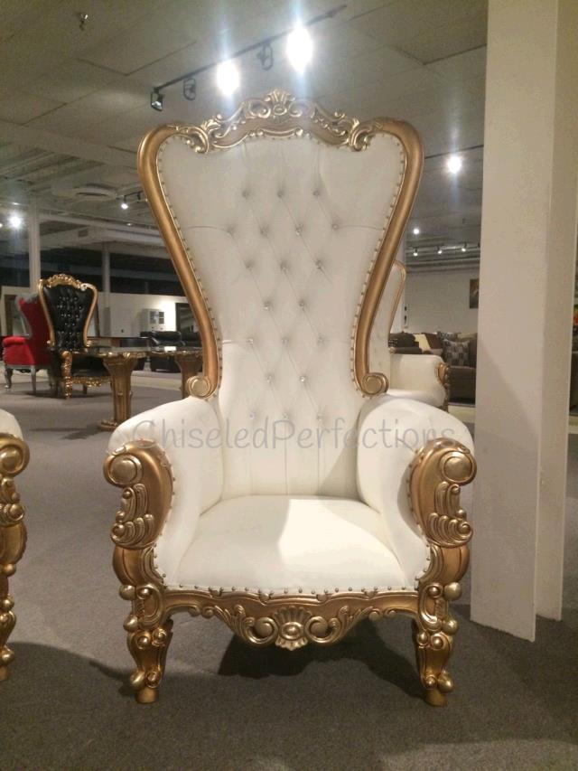 THRONE CHAIR IVORY W GOLD TRIM Rentals New Orleans LA