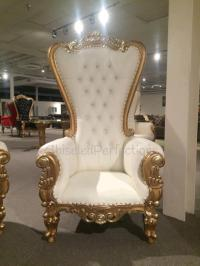 THRONE CHAIR IVORY W/ GOLD TRIM Rentals New Orleans LA ...