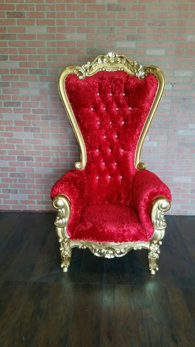 THRONE CHAIR RED WGOLD TRIM Rentals New Orleans LA Where