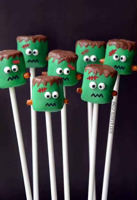 Frankstein Marshmallow Pops, by Just A Taste