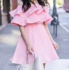 Pink Off Shoulder Ruffle Dress