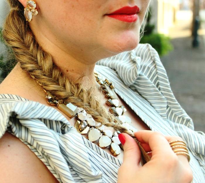 Fishtail Braid Seersucker Dress