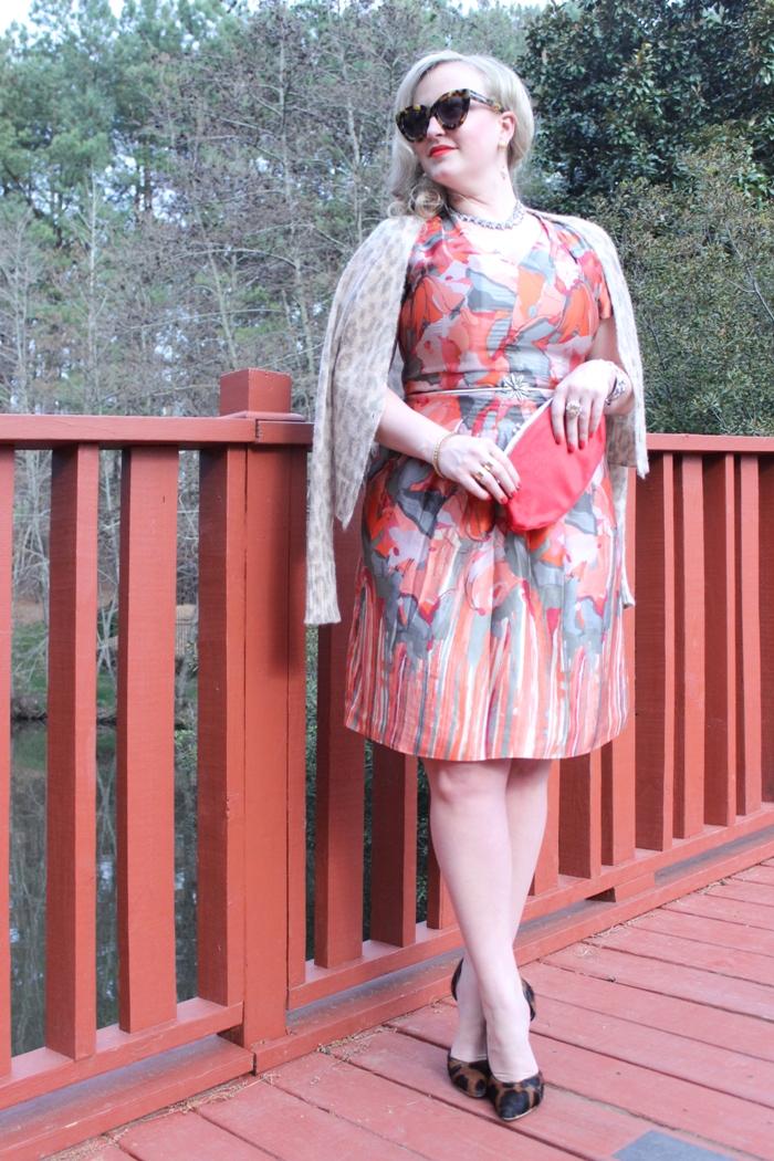 Red Dress Leopard Cardigan