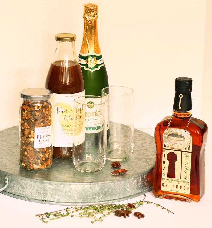 Apple Cider Bourbon Champagne Cocktail