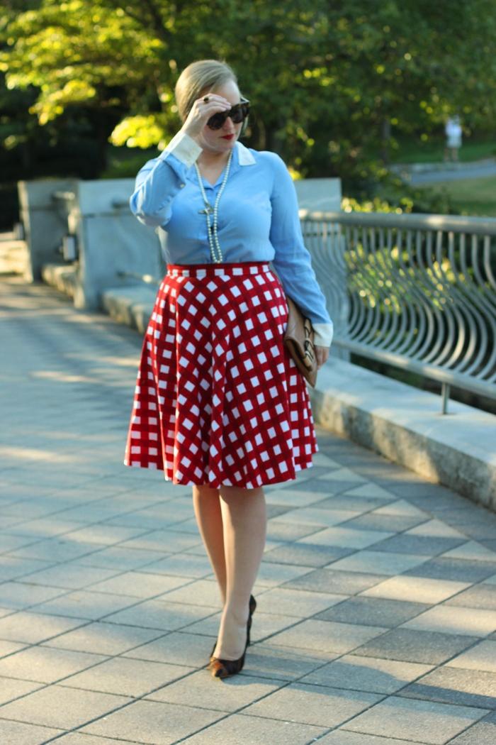 ASOS Red Checkered Skirt