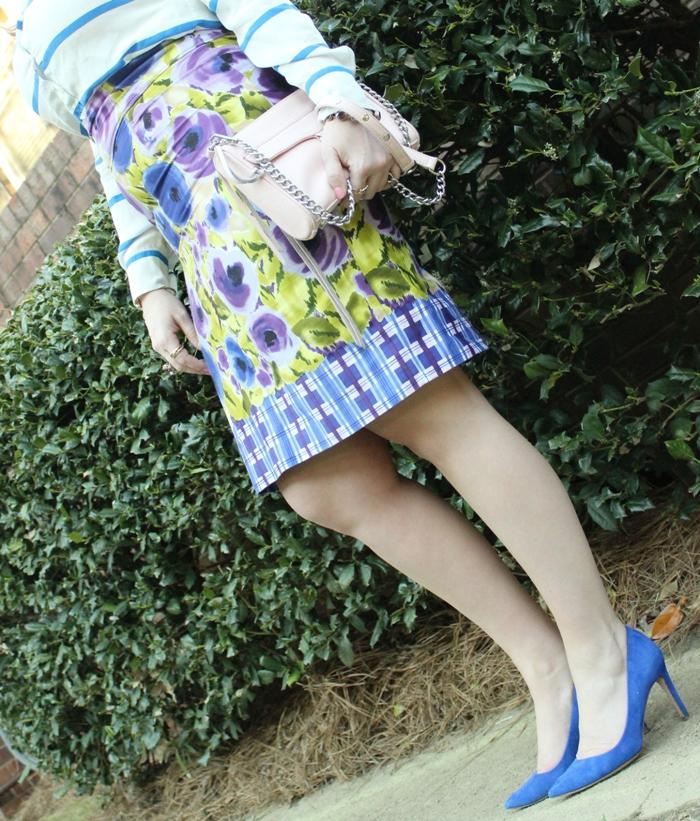 Floral Skirt Blue Suede Heels