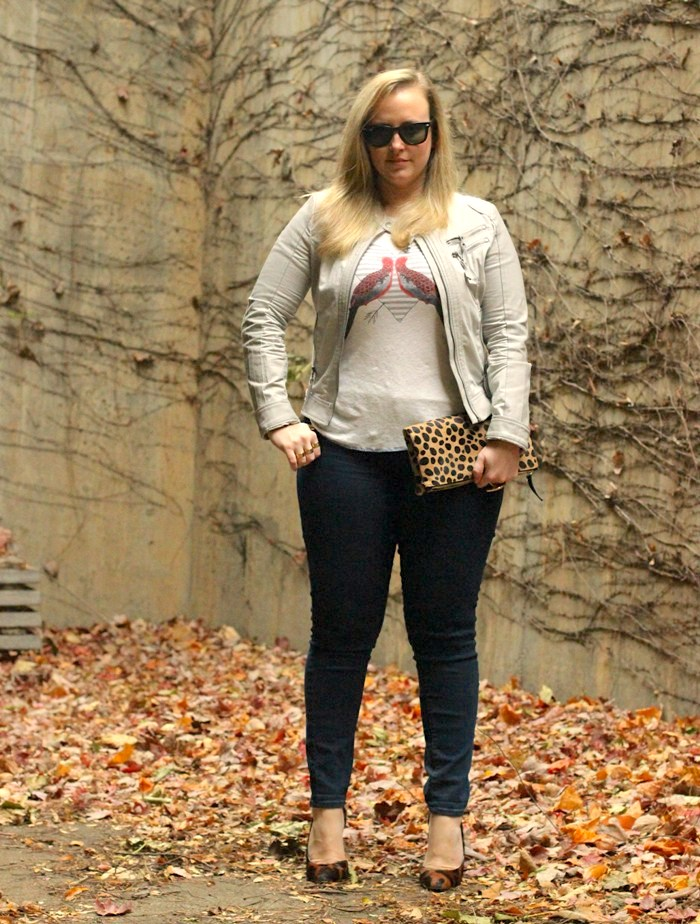 JCrew Bird Top Moto Jacket Leopard Heels Fall Outfit Jenna Wessinger Just a Touch Too Much Atlanta Fashion Blog