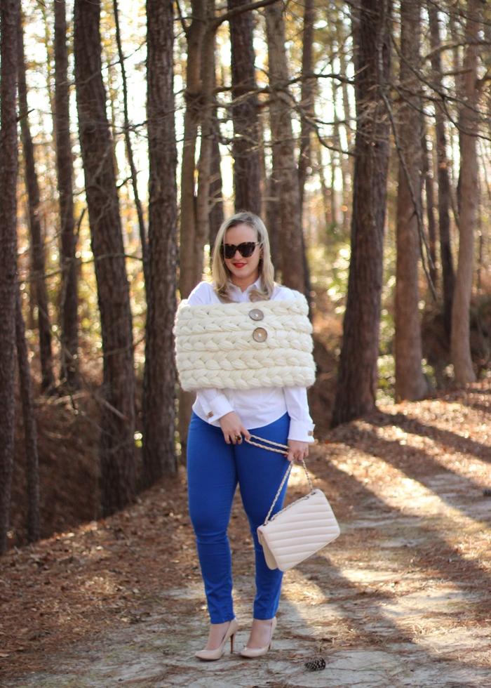 Anthropologie Knit Wrap Blue Denim