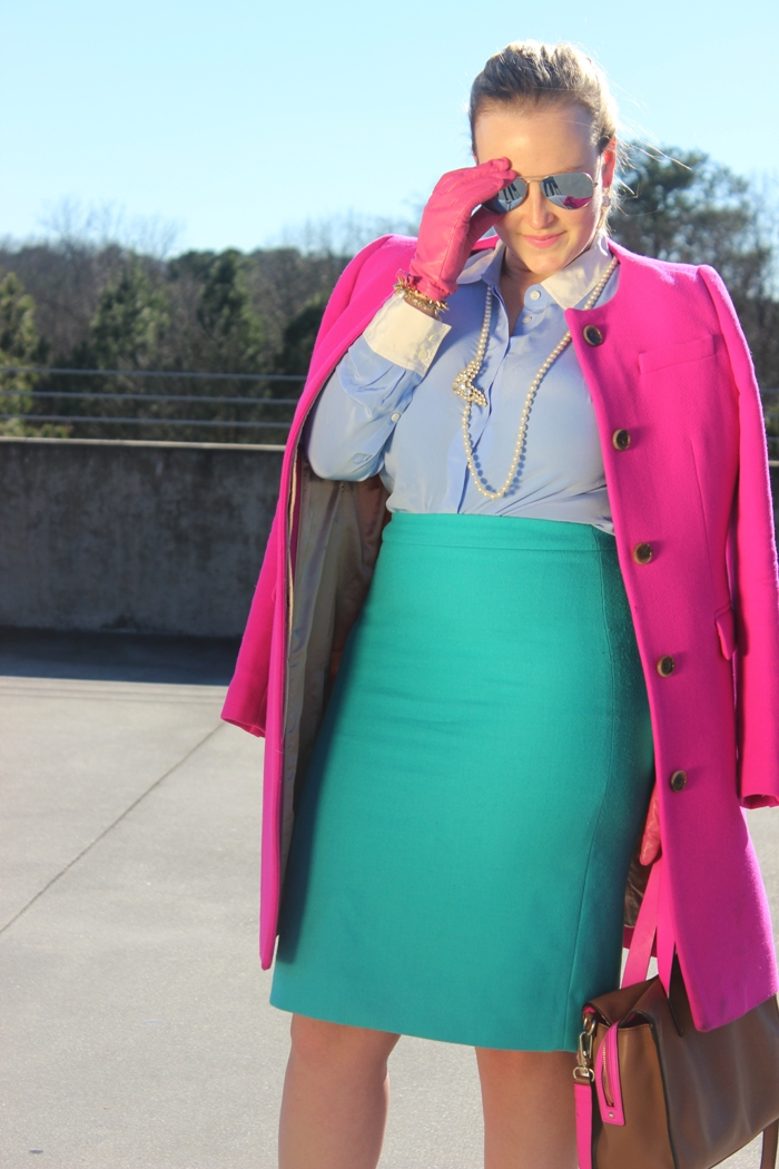 JCrew Bright Fuchsia Sabrina Coat