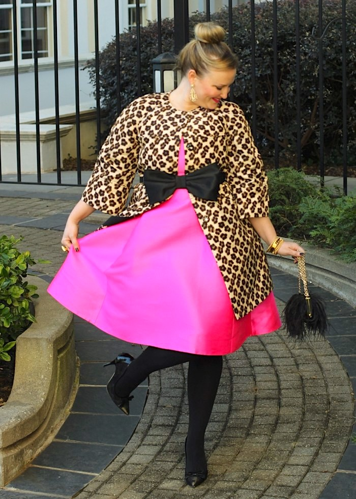 Kate Spade Pink Dress Valentino Leopard Coat Black Feather Clutch Christmas Party Outfit Jenna Wessinger Just a Touch Too Much
