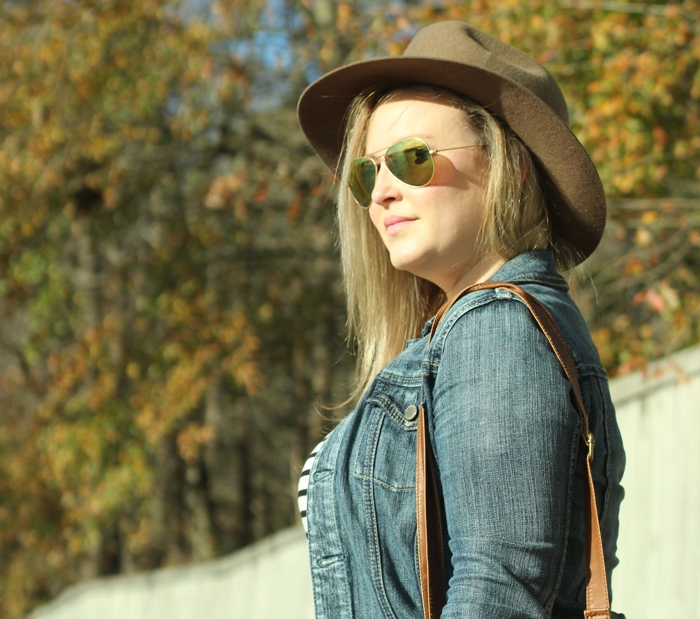 Stripe Shirt Denim Jacket Brown Fedora