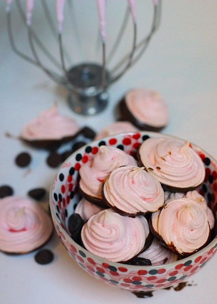 Chocolate-Dipped Cherry Meringues