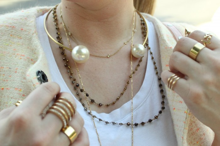 Necklace Ring Stack Pearl