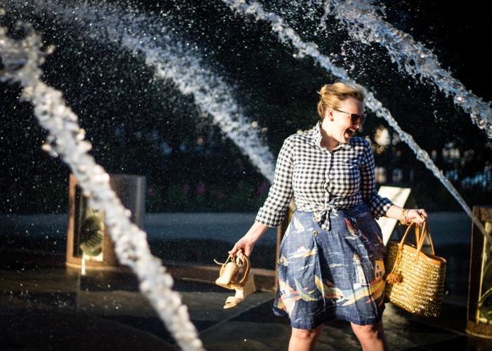 Jenna Wessinger Charleston Waterfront Gingham Sailboat Skirt