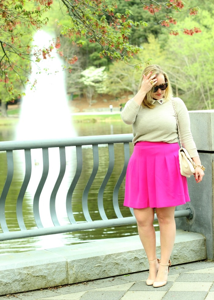 Fuchsia Pleated Skirt Preppy Outfit