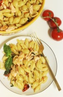 Summer Pasta Salad w/ Roasted Salmon and Tomatoes