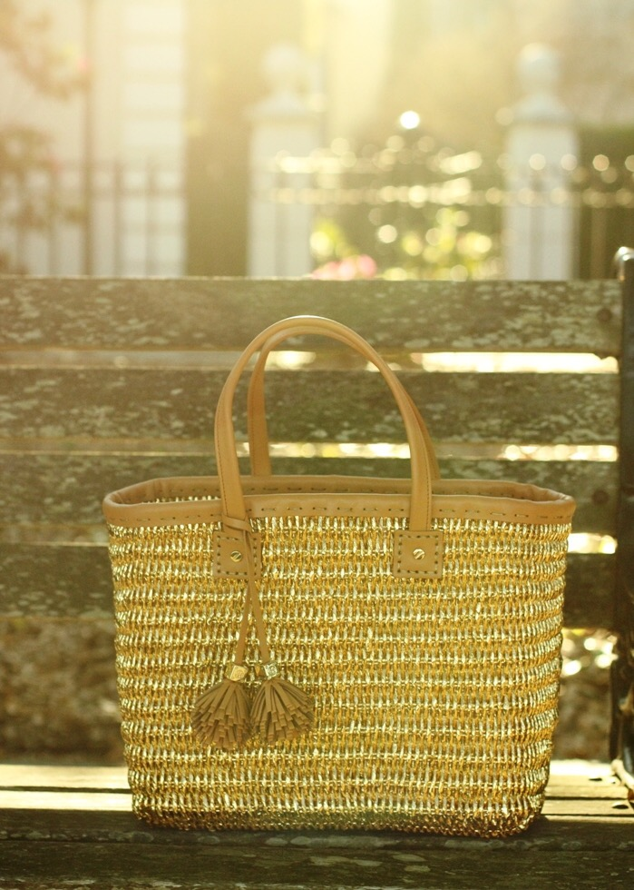 Tory Burch Gold Wicker Tote