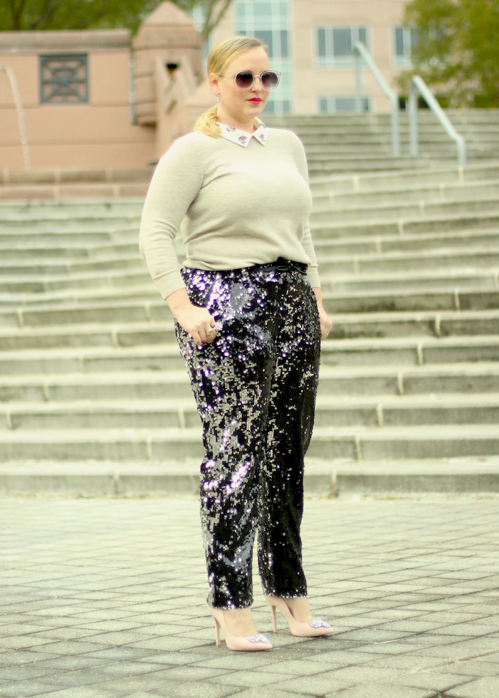 Sequin Pant Jewel Sweater Outfit