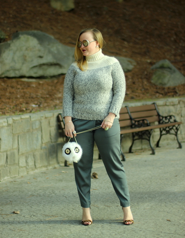 JCrew Turtleneck Hoss Intropia Silk Crepe Pant Kate Spade Owl Purse Jenna Wessinger Atlanta Blogger