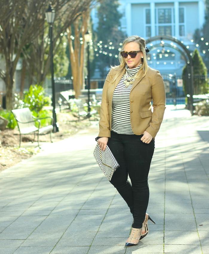 French Look Outfit Stripe Turtleneck JCrew Blazer