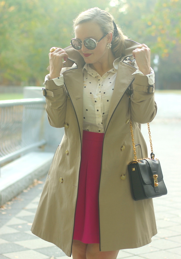 Fuchsia Skirt Polka Dot Top Valentino Rockstud Bag Trench Coat Fall Outfit Jenna Wessinger