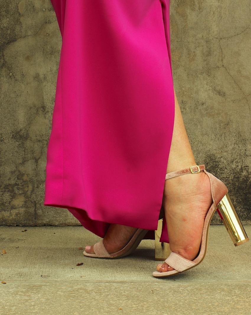 Steve Madden Pink Blush Velvet Gold Sandal Heels