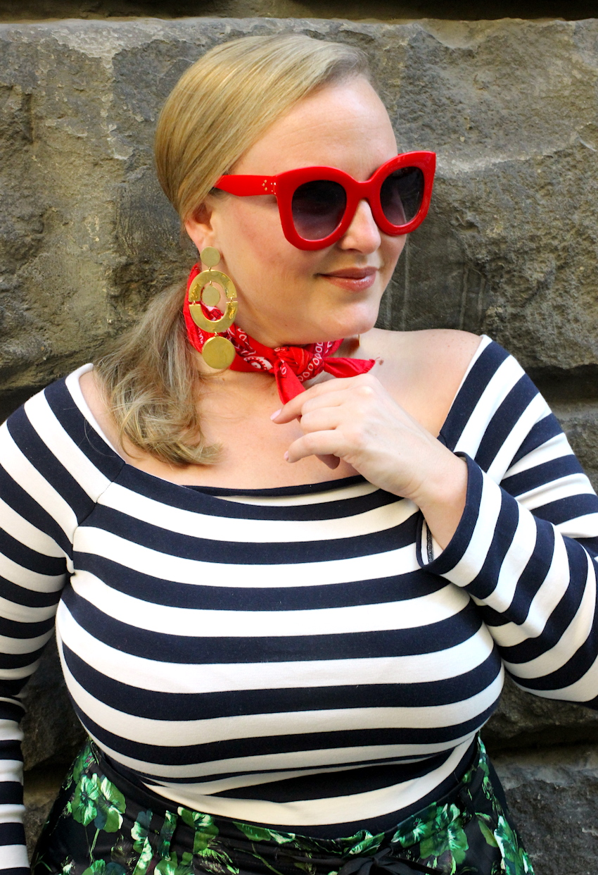 JCrew Off the Shoulder Striped Shirt Amazon Red Sunglasses Florence Italy Jenna Wessinger Just a Touch Too Much
