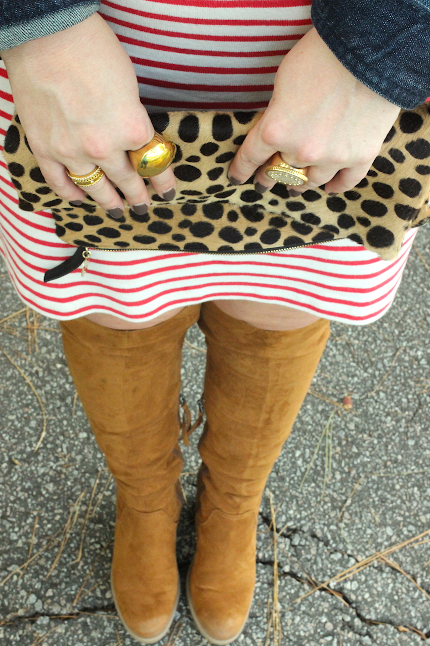 Jcrew Striped Turtleneck Dress Clare Vivier Leopard Clutch Suede Target Over The Knee OTK Boots Jenna Wessinger Fall Outfit Atlanta south