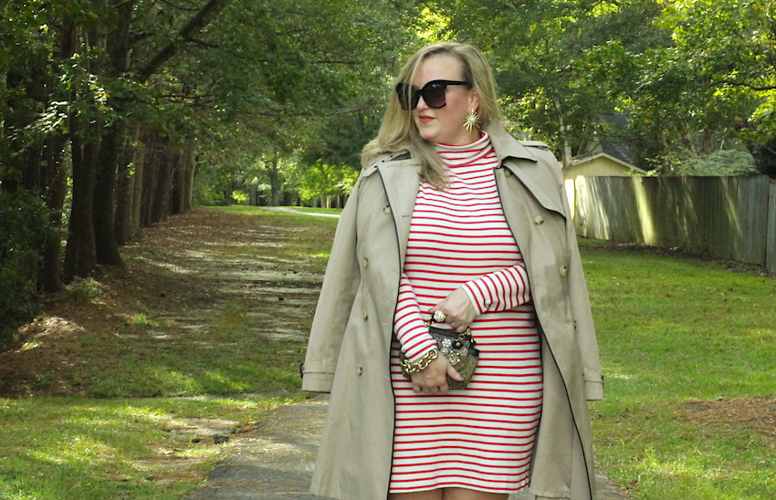 Jcrew Striped Turtleneck Dress Ralph Lauren Nordstrom Trench Leopard Booties Christian Louboutin Jenna Wessinger Fall Outfit Atlanta south