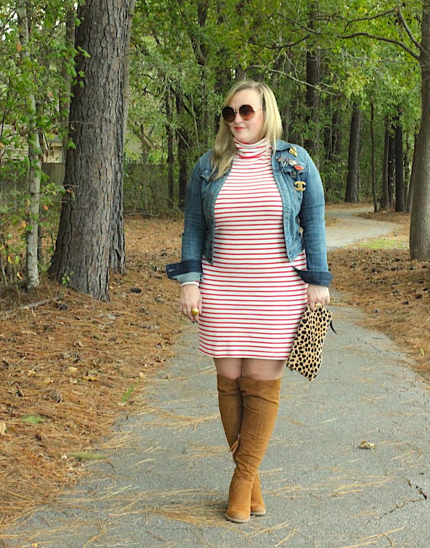 Jcrew Striped Turtleneck Dress Express Jean Denim Jacket Suede Target Over The Knee OTK Boots Jenna Wessinger Fall Outfit Atlanta south