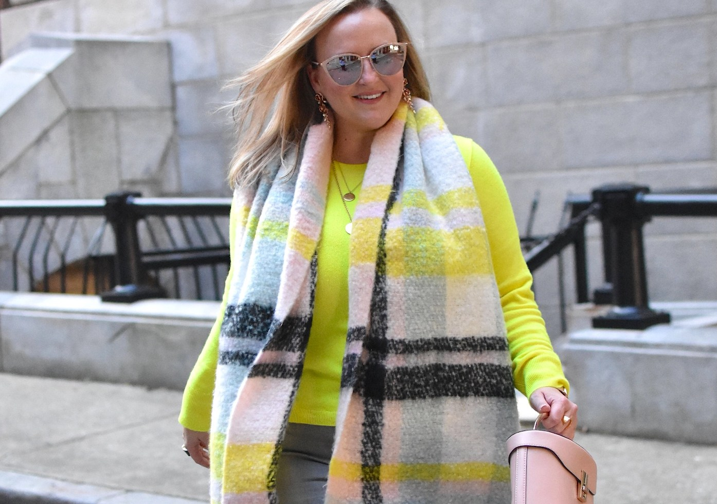 Anthropologie neon blanket scarf yellow jcrew cashmere sweater grey denim old navy jenna wessinger atlanta fashion blogger