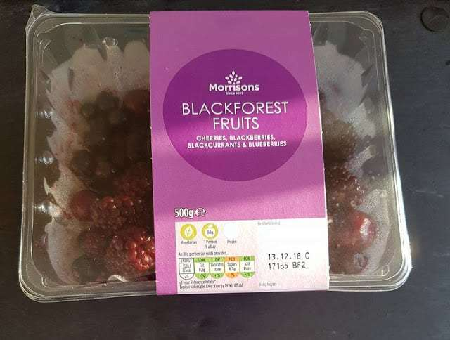 A Box of frozen blackforest fruits from morrisons
