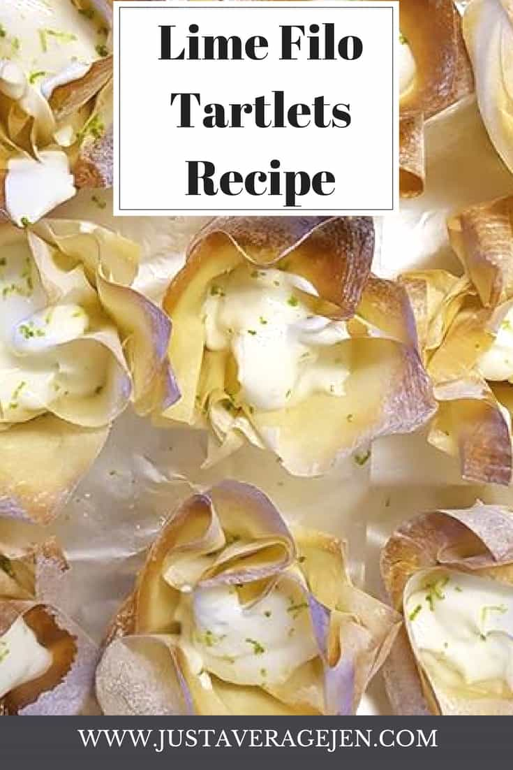 lots of lime file tartlets on silver foil. filo looks like flowers filled with a white creamy lime filling
